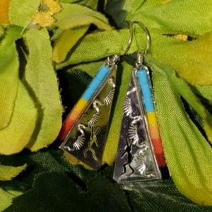 Authentic Zuni Tribe 925 Beaded Dangle Earrings